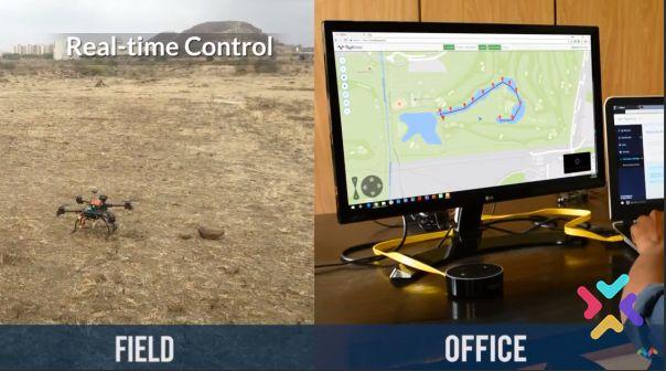 el dron en obras