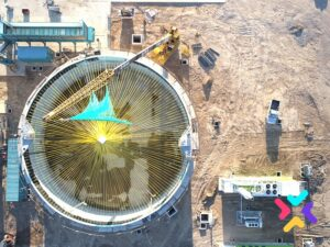 Fotografpia aérea de silos en Venado Tuerto